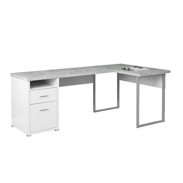Monarch Specialties White L-Shaped Computer Desk