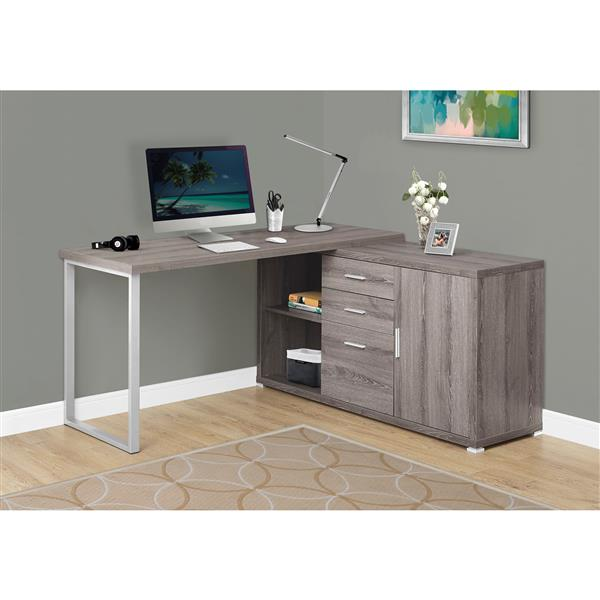 Monarch Specialties Monarch 57.00-in x 29.75-in Dark Taupe Reclaimed Wood Look Computer Desk