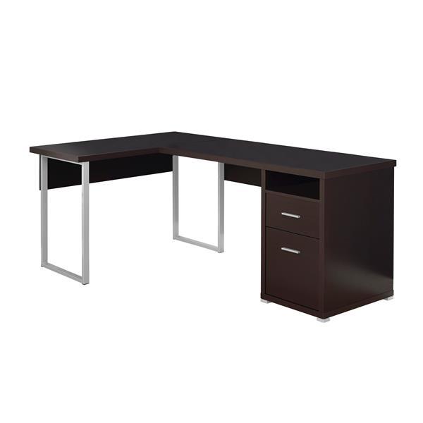 "Bureau d'ordinateur Monarch, 78,75"", métal, cappuccino"