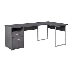 Monarch Specialties Grey Wood-Look L-Shaped Computer Desk