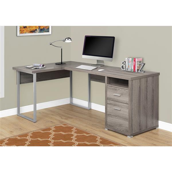 Monarch Specialties Dark Taupe L-Shaped Computer Desk