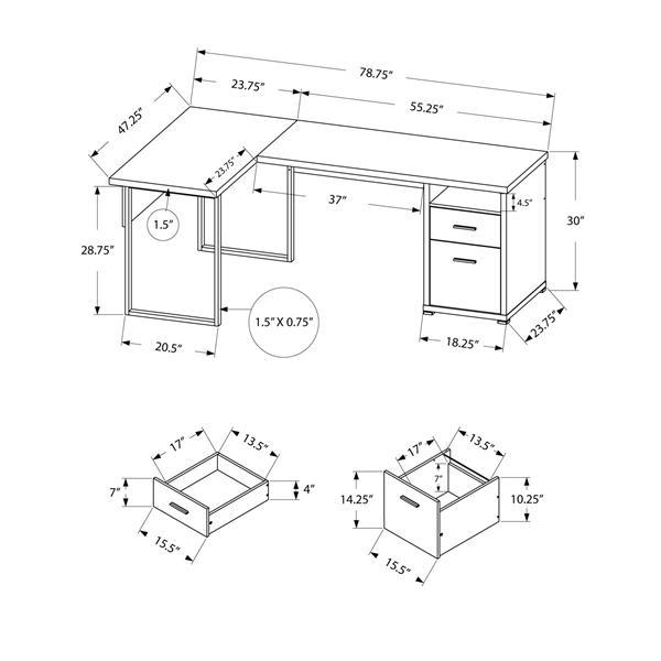 "Bureau d'ordinateur Monarch, 78,75"" x 30"", métal, brun"