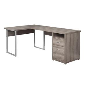 Monarch  Dark Taupe L-Shaped Computer Desk