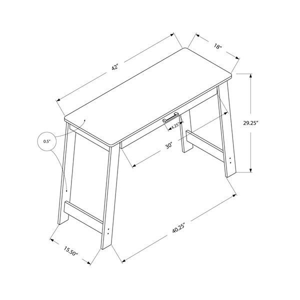 Bureau d'ordinateur Monarch, 42 po x 29,25 po, bois taupe foncé