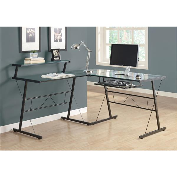 "Monarch Computer Desk - 57""- Metal - Clear - 3 Pieces"