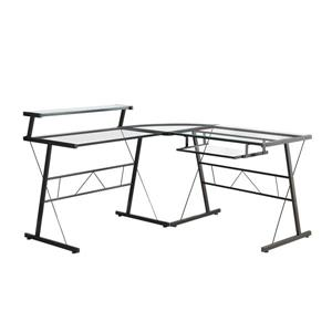 Monarch Computer Desk - 57-in- Metal - Clear - 3 Pieces
