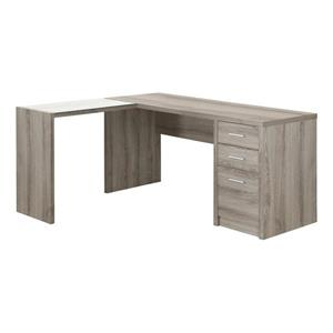 Monarch Specialties 60-in x 30-in Dark Taupe L-Shaped Computer Desk