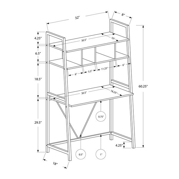 Monarch Specialties 32-in x 60.25-in White Metal Ladder Style Computer Desk