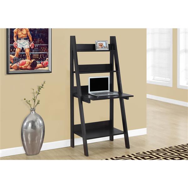 Monarch Specialties 25.5-in x 61-in Brown Ladder Style Computer Desk
