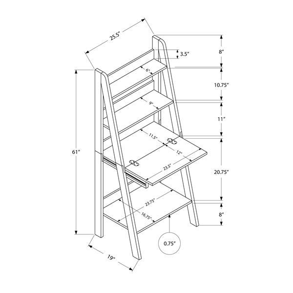 Monarch  25.5-in x 61-in Brown Ladder Style Computer Desk
