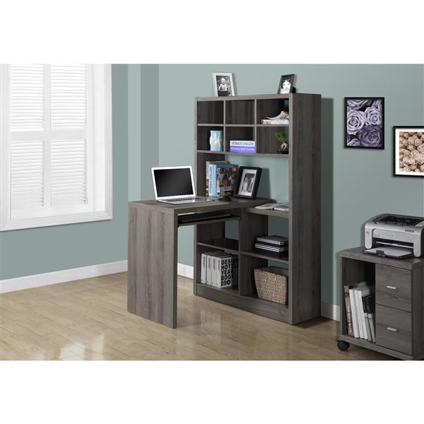 Monarch  35.5-in x 60-in Dark Taupe Left or Right Side Shelf Desk