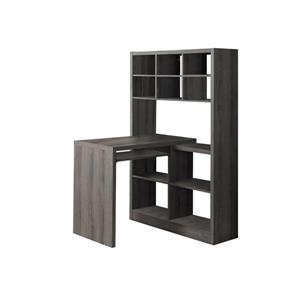 Monarch Specialties 35.5-in x 60-in Dark Taupe Left or Right Side Shelf Desk