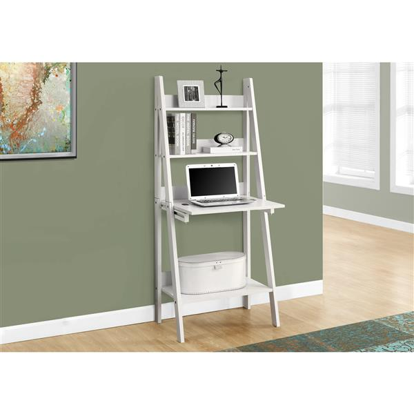 Monarch Specialties 25.5-in x 61-in White Ladder Style Computer Desk