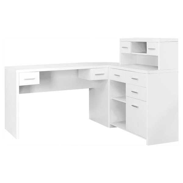 "Bureau d'ordinateur Monarch, 62,75"" x 44,75"", bois, blanc"
