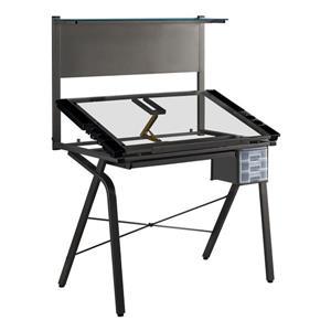"""Bureau d'ordinateur Monarch, 40,75"""" x 55,75"""", métal, noir"""