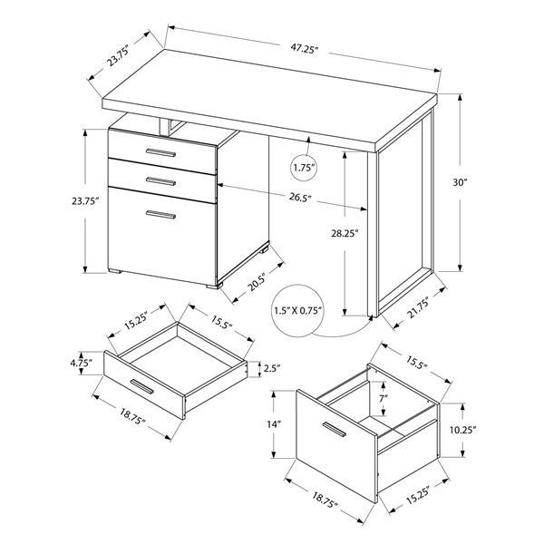"""Bureau d'ordinateur Monarch, 47,25"""" x 30"""", bois, brun"""