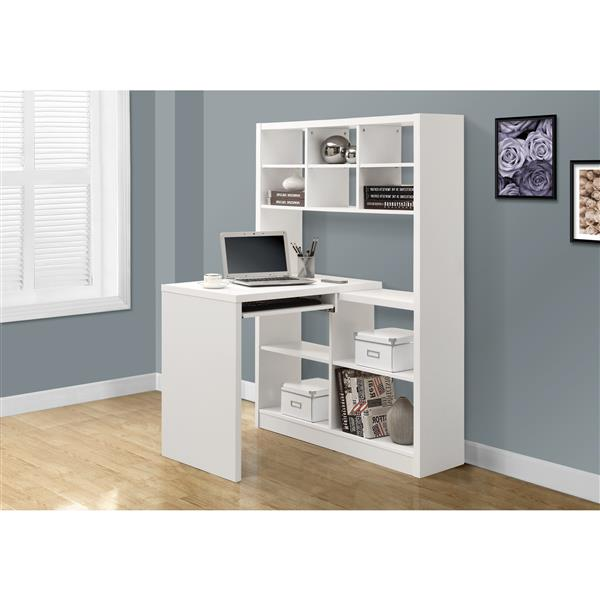 "Bureau d'ordinateur Monarch, 35,5"" x 60"", bois, blanc"