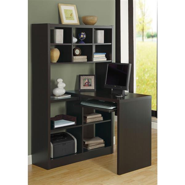 Monarch Specialties 35.5-in x 60-in Cappuccino Left or Right Side Shelf Desk