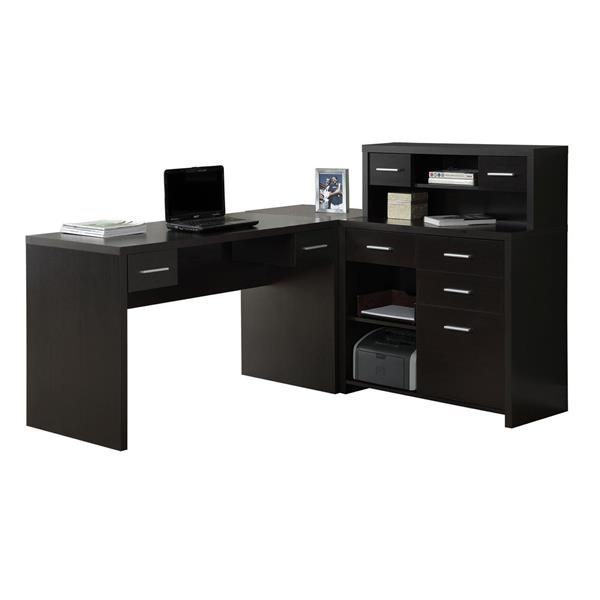 Monarch 62.75-in x 44.75-in Cappuccino L-Shaped Home Office Desk