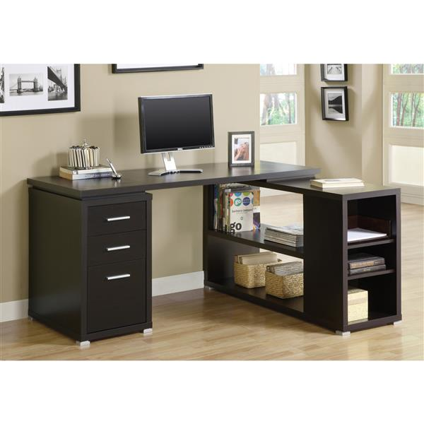 Monarch  60-in x 29-in Cappuccino Left or Right Facing Corner Desk