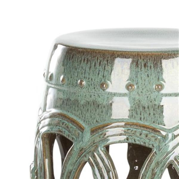 Safavieh Double Coin 17-in Teal Ceramic Garden Stool