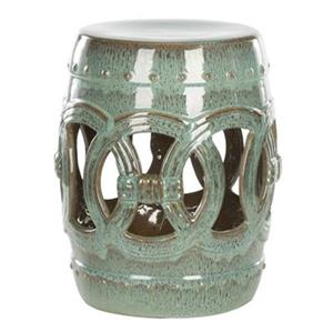 Safavieh Double Coin 17-in Teal Ceramic Garden Stool