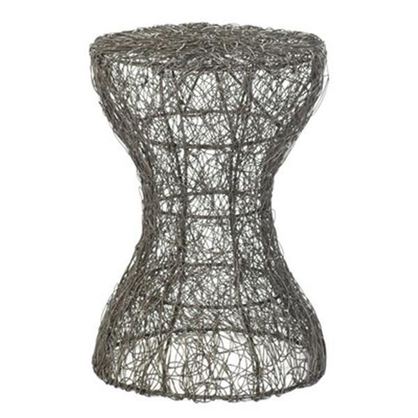 Safavieh Iggy 20.9-in Antique Zinc Zig Zag Woven Stool Table