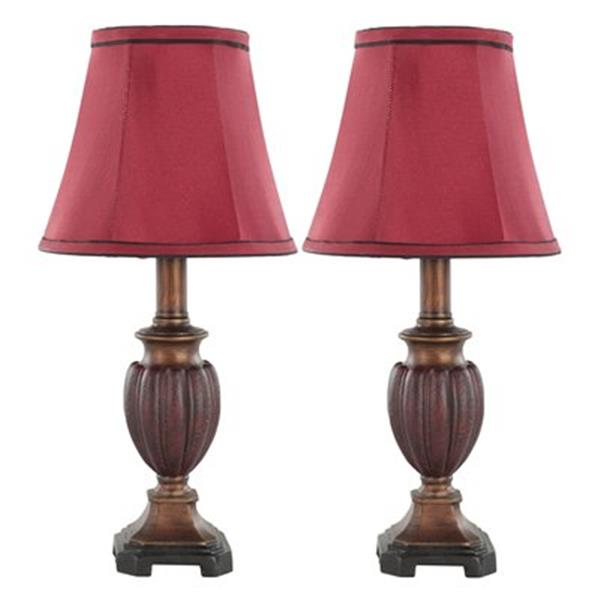 Safavieh 16-in Antique Chestnut Hermione Urn Lamps (Set of 2)