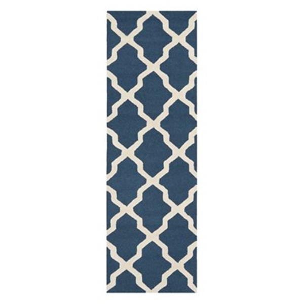 Safavieh Cambridge 30-in Navy Blue/Ivory Runner