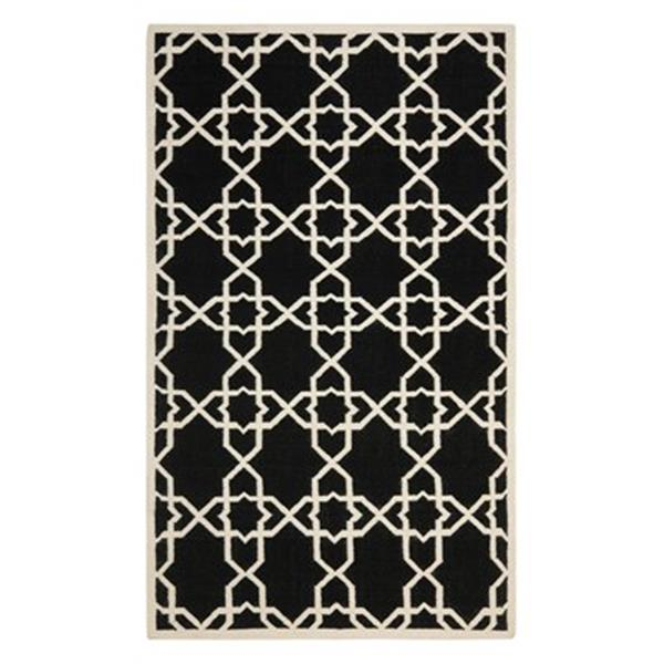 Safavieh DHU548L Dhurries Area Rug, Black / Ivory,DHU548L-4