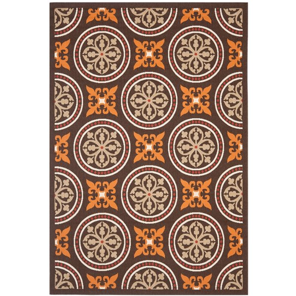 Safavieh VER030-0325 Veranda Area Rug, Chocolate / Terracott