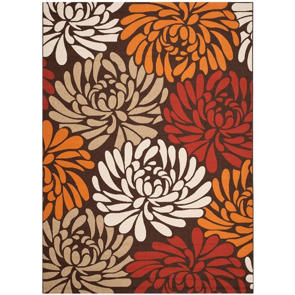 Safavieh VER049-0325 Veranda Area Rug, Chocolate / Terracott