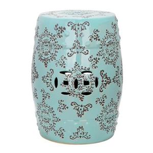Safavieh Medallion 18.50-in Robins Egg Blue Ceramic Garden Stool