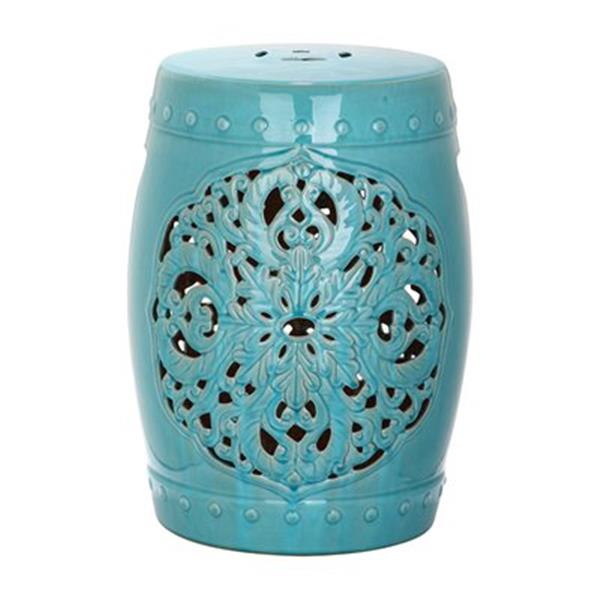 Safavieh Flora 18-in Light Blue Ceramic Garden Stool