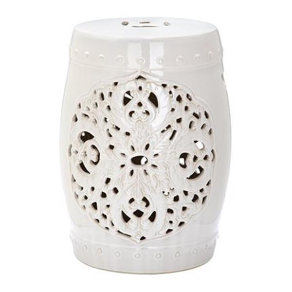 Safavieh Flora 18-in Cream Ceramic Garden Stool