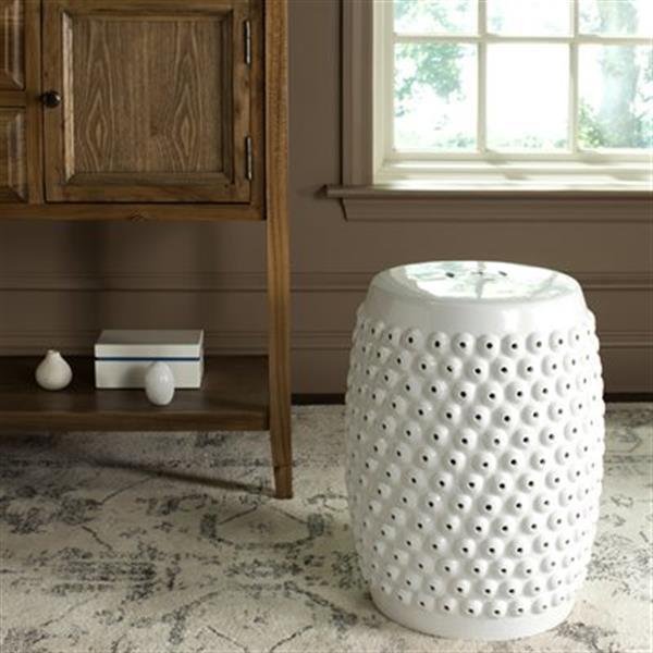 Safavieh Stella 17-in White Ceramic Nailhead Stool