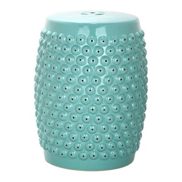 Safavieh Stella 17-in Aqua Ceramic Nailhead Garden Stool