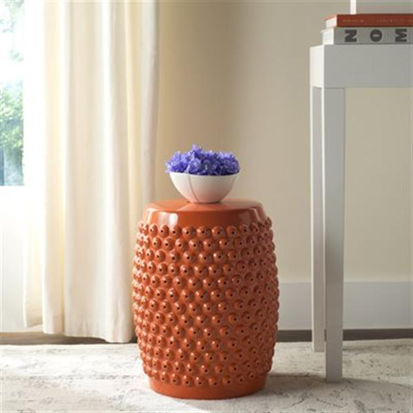 Safavieh Stella 17-in Orange Ceramic Nailhead Garden Stool