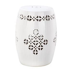 Safavieh Quatrefoil 18-in Antique White Ceramic Garden Stool