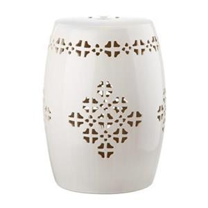 Safavieh Quatrefoil 18-in Cream Ceramic Garden Stool