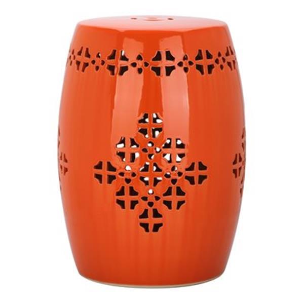 Safavieh Quatrefoil 18-in Orange Ceramic Garden Stool