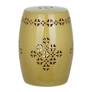Safavieh Quatrefoil 18-in Spring Green Ceramic Filigree Garden Stool