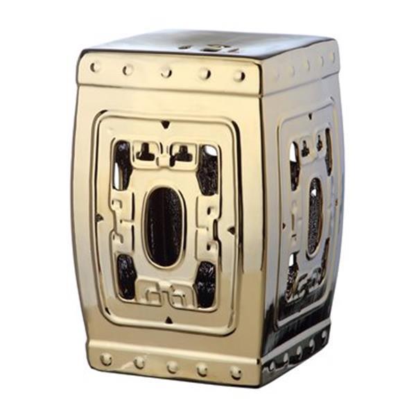 Safavieh Dynasty 18-in Gold Ceramic Filigree Garden Stool