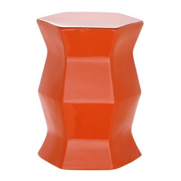 Safavieh Modern Hexagon 18-in Orange Ceramic Garden Stool