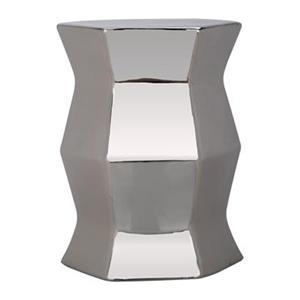 Safavieh Modern Hexagon 18-in Silver Ceramic Garden Stool