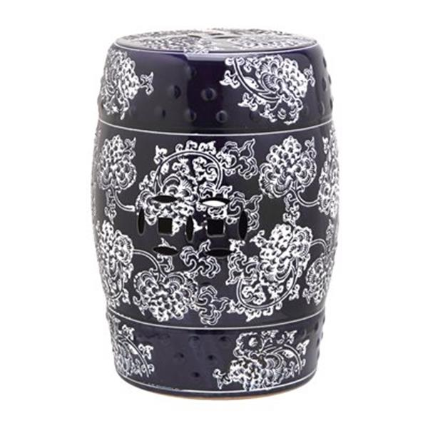 Safavieh Midnight Flower 18-in Navy/White Garden Stool