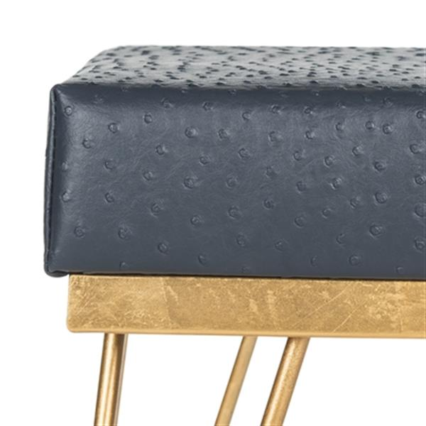 Safavieh Jenine 16-in Navy Faux Ostrich Square Bench
