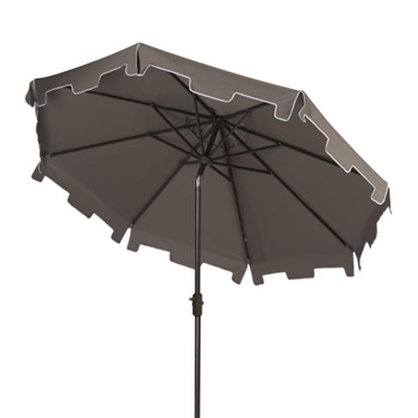 Safavieh Zimmerman 9-ft Grey Drape Crank & Tilt Patio Umbrella
