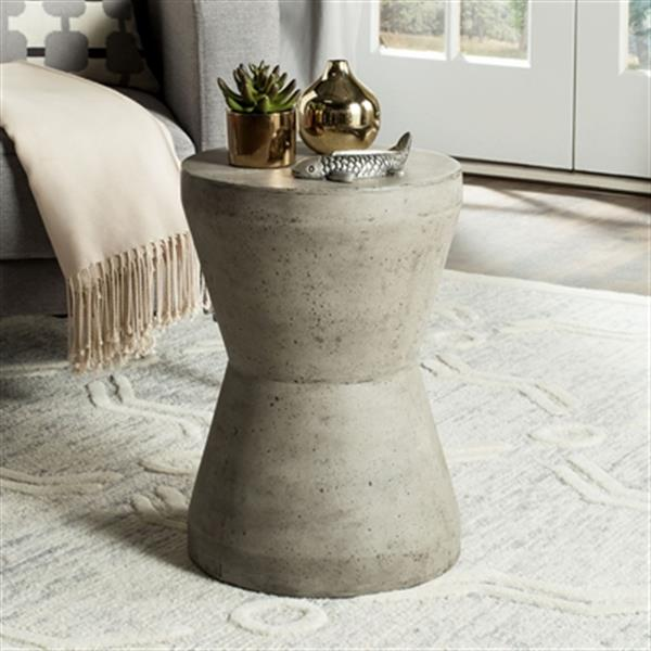 Safavieh 17.30-in Dark Grey Torre Concrete Outdoor Accent Table