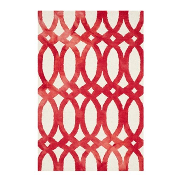 Safavieh Dip Dye Hand-Tufted Wool Ivory and Red Area Rug,DDY